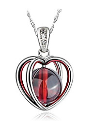 Vintage Natural Stone Beads Super Flash Dark Red Garnet Heart Pendant Necklace Link Chain Women Nice Jewelry