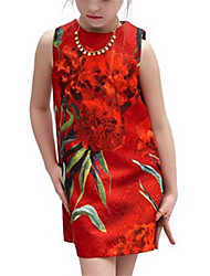 Girl's Red Dress Polyester Summer