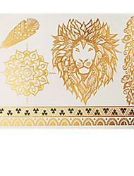 6pcs Animals Body Art Temporary Tattoos Gold Silver Black Flash Metallic Tattoo Sticker Women Jewelry Tattoo Waterproof
