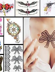 8pcs Art und Weise wasserdicht Tatoo Frauen binden Blume Schulter Körperkunst temporäre Tätowierung-Aufkleber-Papier-Design