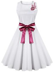 Women's Bow Plus Size Vintage Swing Dress,Patchwork Round Neck Knee-length Sleeveless White Cotton Summer