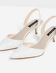 Women's Shoes Microfibre Low Heel Heels / Closed Toe Sandals Dress White