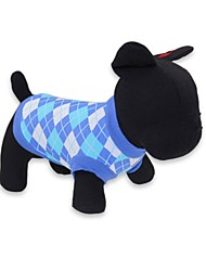 Gatos / Perros Camiseta Rojo / Azul Verano Ajedrez Moda, Dog Clothes / Dog Clothing-DroolingDog