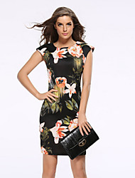 Women's Cute Solid Sheath Dress,Round Neck Above Knee Polyester