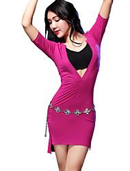 Dança do Ventre Vestidos Mulheres Treino Modal Frente Dividida 1 Peça Manga Curta Meia manga Natural Vestidos