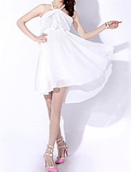 Women's Sexy Solid Chiffon Dress,Halter Knee-length Polyester