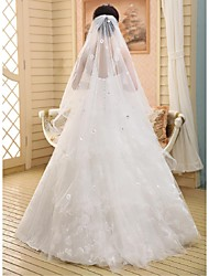 Wedding Veil One-tier Chapel Veils Ribbon Edge Lace White