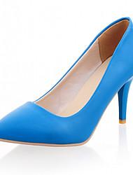 Mujer / Para Niña-Tacón Stiletto-TaconesBoda / Oficina y Trabajo / Vestido-Semicuero-Negro / Azul / Amarillo / Morado / Rojo / Beige