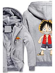 Inspirado por One Piece Monkey D. Luffy Anime Fantasias de Cosplay Hoodies cosplay Estampado Cinzento Manga Comprida Top Para
