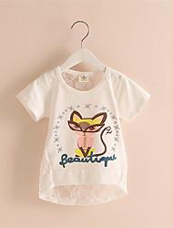 Mädchen T-Shirt-Lässig/Alltäglich Blumen Baumwolle Sommer Weiß