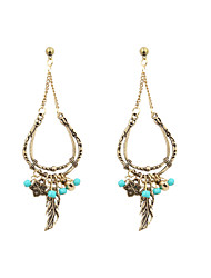 Fashion Women Vintage Leaf Turquoise Beads Drop Earrings