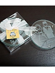 Clear Bride and Groom glass coaster (2pcs/box)