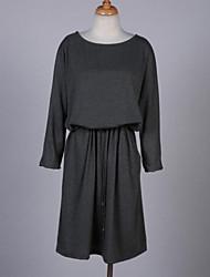 Mulheres Solto Vestido,Casual / Tamanhos Grandes Simples Sólido Decote Redondo Altura dos Joelhos Manga ¾ Preto Poliéster Verão