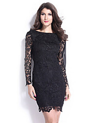 Women's Club Sheath Dress,Solid Round Neck Above Knee Long Sleeve Black Cotton / Polyester Spring / Summer / Fall / Winter