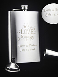 Personalized 6-pieces Stainless Steel Hip Flasks 9-oz  Flask Gift Set Love is Magic