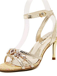 Women's Shoes Leatherette Stiletto Heel Heels Sandals Party & Evening Silver / Gold