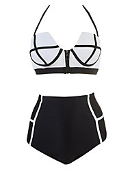 Women's Cute High Waist Retro Vintage Zip Swimsuit Push Up Padded Flattering Swimwear