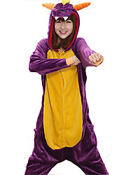 Kigurumi Pajamas Dragon Leotard/Onesie Festival/Holiday Animal Sleepwear Halloween Purple Patchwork Coral fleece Kigurumi For Unisex