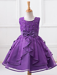 Girl's Purple / Red / White Dress,Dresswear Polyester Summer / Spring / Fall