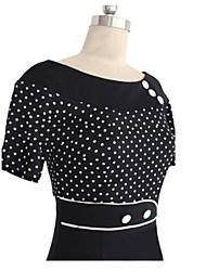 Women's Elegant Vintage Sheath Round Collar Polka Dots Splicing Pencil  Dress,Short Sleeve Plus Size