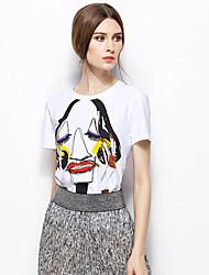 Zishangbaili® Femme Col Arrondi Manche Courtes Shirt et Chemisier Blanc-TX1508