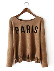 Women's Casual/Daily Street chic Spring Blouse,Print Round Neck Long Sleeve Brown Polyester Medium