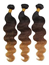 "300g / lot 12 ""-24"" 3 Ton 1b / 27.04 dunkelbraun Blond brasilianische Menschenhaarkörperwelle ombre Haarwebart"