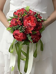 """Wedding Flowers Round Peonies Bouquets Wedding / Party/ Evening Pink / Red / Green / White / Peach Satin 11.02""""(Approx.28cm)"""