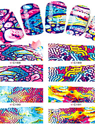 8pcs  Nail Art Water Transfer Stickers Abstractive  Image Fashion C188-191