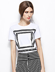 Zishangbaili® Mujer Escote Redondo Manga Corta Camisa y blusa Blanco-TX1509