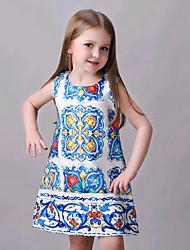Girl's Blue Dress,Floral Cotton Summer