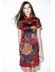 De las mujeres Corte Bodycon Vestido Vintage Estampado Mini Escote Chino Seda