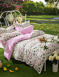 Romance, Full Cotton Reactive Printing Pastoral Flowers Bedding Set 4PC, FULL Size
