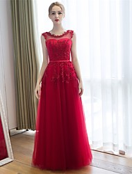 Bridesmaid Dress Floor-length Lace / Tulle - Sheath / Column Scoop with Appliques