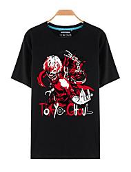 Inspiriert von Tokyo Ghoul Ken Kaneki Anime Cosplay Kostüme Cosplay-T-Shirt Druck Schwarz Kurze Ärmel Top