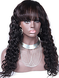 Virgin Malaysian Human Hair Lace Front Wig Loose Deep Wave Glueless Wigs With Full Bangs 130% density Natural Color