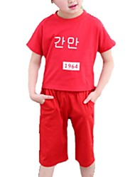 Girl's Red Clothing Set,Cartoon Cotton Summer