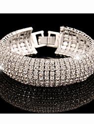 Feminino Pulseiras em Correntes e Ligações Strass imitação de diamante Liga Moda Jóias de Luxo Prata Dourado Jóias 1peça
