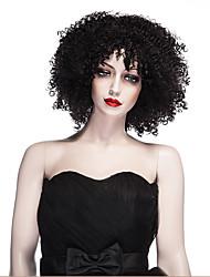 moda perucas sintéticas cor preta estilo encaracolado perucas sintéticas