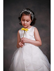 A-line Knee-length Flower Girl Dress - Satin Tulle Jewel with Flower(s) Sash / Ribbon