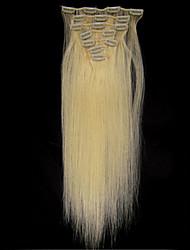 18 '' 7pcs clipes em extensões de cabelo humano loiro 70g para hairsalon beleza das mulheres na moda