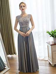 Prom / Formal Evening Dress Sheath / Column Scoop Floor-length Lace / Satin with Lace