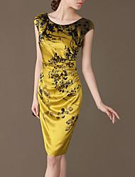 LIFVER® Women's Real Silk Round Neck Sleeveless Printed Bodycon Dress(golden) - W63