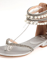 Women's Shoes Heel Flip Flops Sandals Party & Evening / Dress / Casual White / Silver / Gold