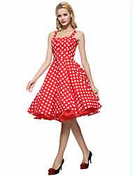 Women's Party/Cocktail Vintage A Line / Skater Dress,Polka Dot Strap Knee-length Sleeveless Blue / Red / White Cotton Summer High Rise