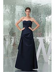 Formal Evening Dress-Dark Navy A-line Sweetheart Floor-length Stretch Satin