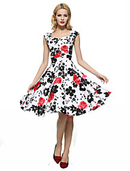 Maggie Tang Women's 50s VTG Retro Floral Rockabilly Hepburn Pinup Business Swing Dress 567