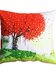3D Design Oil Painting Red Tree Decorative Throw Pillow Case Cushion Cover for Sofa Home Decor Polyester Soft Material
