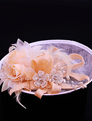 Women's Feather / Imitation Pearl / Flax Headpiece-Wedding / Special Occasion / Casual / Outdoor Fascinators 1 Piece