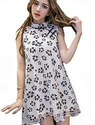 Women's Retro Buckle Printed Dress